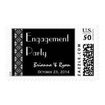 Black and White Engagement Party Stamp