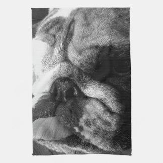 Black and White English Bulldog Puppy Hand Towel