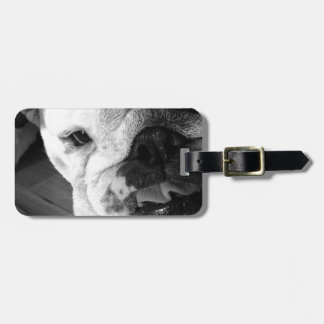 Black and White English Bulldog Puppy Tags For Bags
