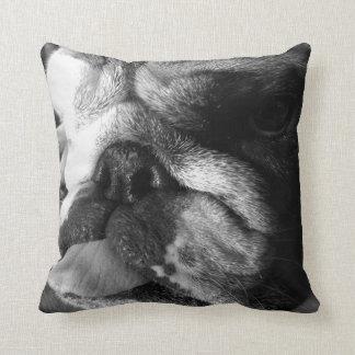 Black and White English Bulldog Puppy Pillow