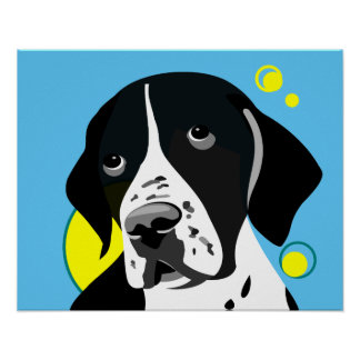 Black and White English Pointer Poster