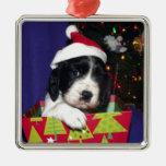 Black and White English Springer Spaniel Christma Christmas Ornament