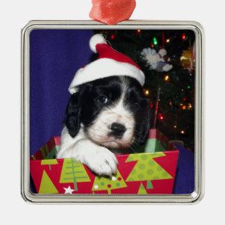 Black and White English Springer Spaniel Christma Square Metal Christmas Ornament
