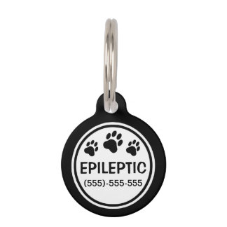 Black And White Epileptic Text With Custom Info Pet Tag