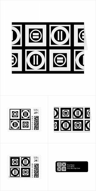 Black and White Equal Sign Pattern Stationery