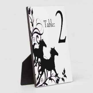 Black and White Equestrian Horse Table Number Plaque