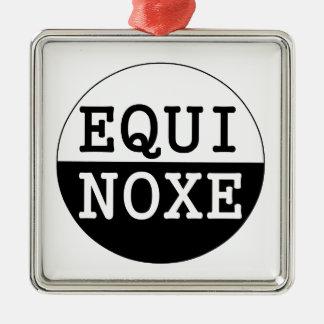 black and white equinox metal ornament