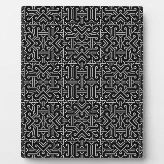 Black and White Ethnic Sharp Geometric Plaque