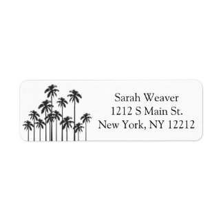 Black and White Exotic Tropical Palm Trees Label