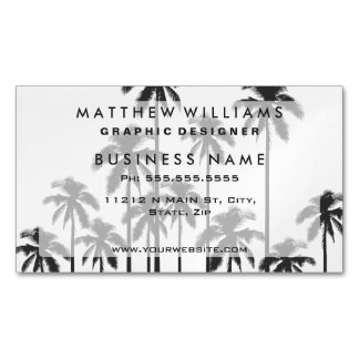 Black and White Exotic Tropical Palm Trees Magnetic Business Cards (Pack Of 25)
