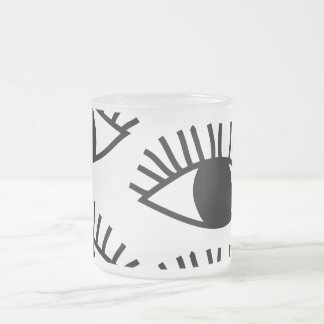Black and white Eyes Frosted Glass Coffee Mug