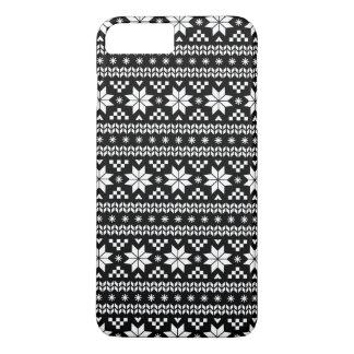 Black and White Fair Isle Christmas Sweater Print iPhone 7 Plus Case