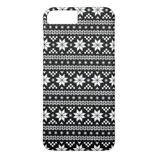 Black and White Fair Isle Christmas Sweater Print iPhone 8 Plus/7 Plus Case