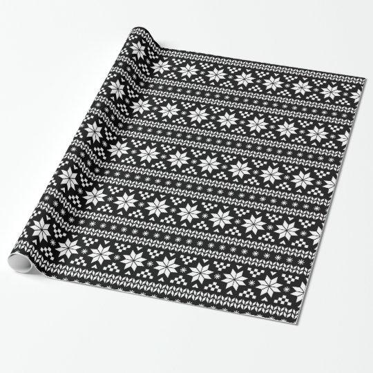 Fair Isle Christmas Sweater.Black And White Fair Isle Christmas Sweater Print Wrapping Paper