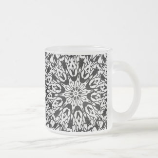 Black and White Fairy Kaleidoscope Frosted Glass Coffee Mug