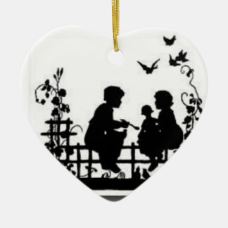 Black and white family ornament