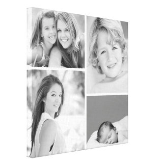 Black and White Family Photo Collage Canvas Print