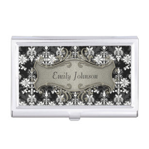 Fancy business card holders cases zazzle black and white fancy damask business card holder colourmoves Image collections