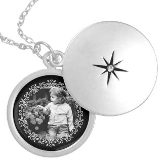 Black and White Fancy Frame Custom Photo Locket Necklace