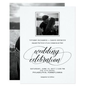 Black And White Fancy Script Wedding Photo Card by Customize_My_Wedding at Zazzle