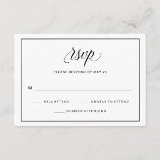 Black and White Fancy Script Wedding RSVP | Photo