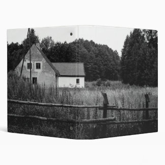 Black and White Farm In A Grassland Landscape 3 Ring Binders