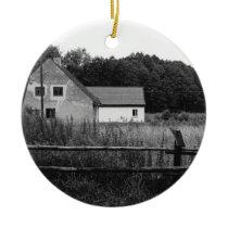 Black and White Farm In A Grassland Landscape Ceramic Ornament