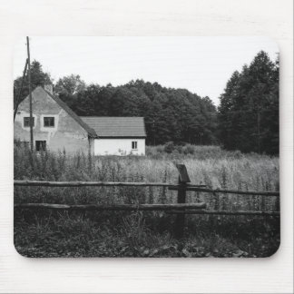 Black and White Farm In A Grassland Landscape Mousepads