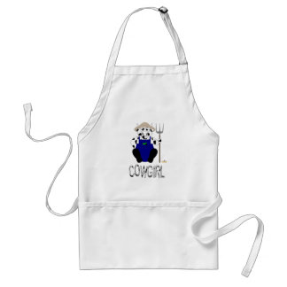 Black And White Farmer Cow Black White Cowgirl Adult Apron