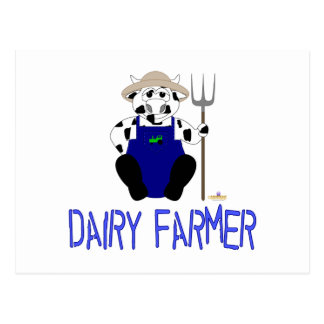 Black And White Farmer Cow Blue Dairy Farmer Postcards
