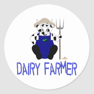 Black And White Farmer Cow Blue Dairy Farmer Round Sticker