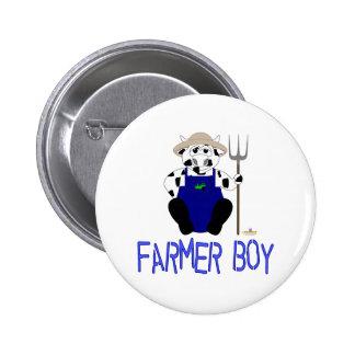 Black And White Farmer Cow Blue Farmer Boy Pins