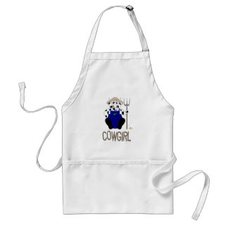 Black And White Farmer Cow Brown Cowgirl Adult Apron