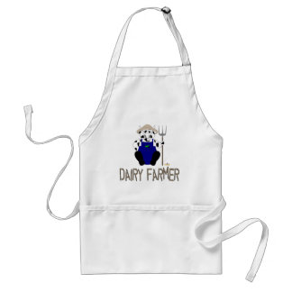 Black And White Farmer Cow Brown Dairy Farmer Adult Apron
