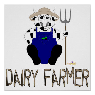 Black And White Farmer Cow Brown Dairy Farmer Poster