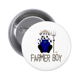 Black And White Farmer Cow Brown Farmer Boy Pinback Button