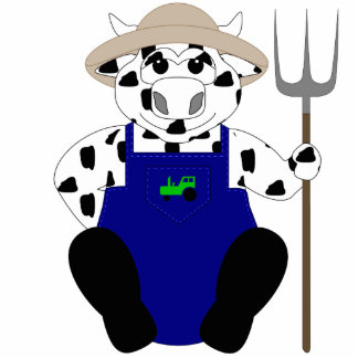 Black And White Farmer Cow Acrylic Cut Outs