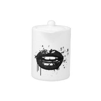 Black and white fashion glamour lips illustration teapot