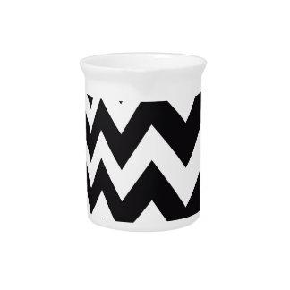 Black and White Fast Lane Stripes Beverage Pitcher