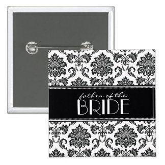 Black and White Father Of The Bride Damask Button