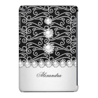 Black and White Faux Diamond Jewel iPad Mini Cover