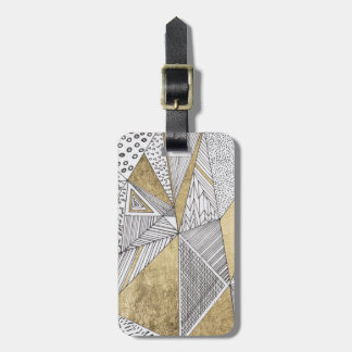 Black and white faux gold geometric patterns bag tag