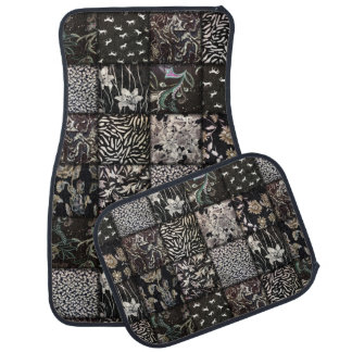 Black and White Faux Patchwork Quilting Car Floor Mat