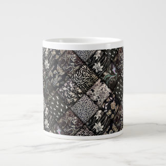 Black and White Faux Patchwork Quilting Giant Coffee Mug