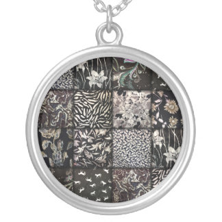 Black and White Faux Patchwork Quilting Round Pendant Necklace