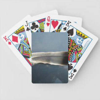 Black and White Feather Bicycle Playing Cards