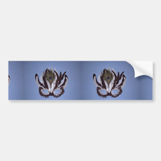 Black and white feather mask car bumper sticker