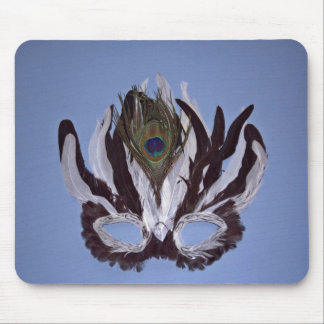 Black and white feather mask mousepads