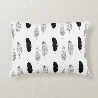 Black and White Feathers Decorative Pillow