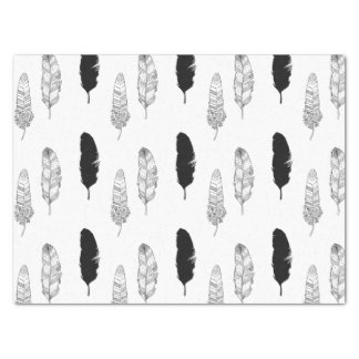 """Black and White Feathers 15"""" X 20"""" Tissue Paper"""